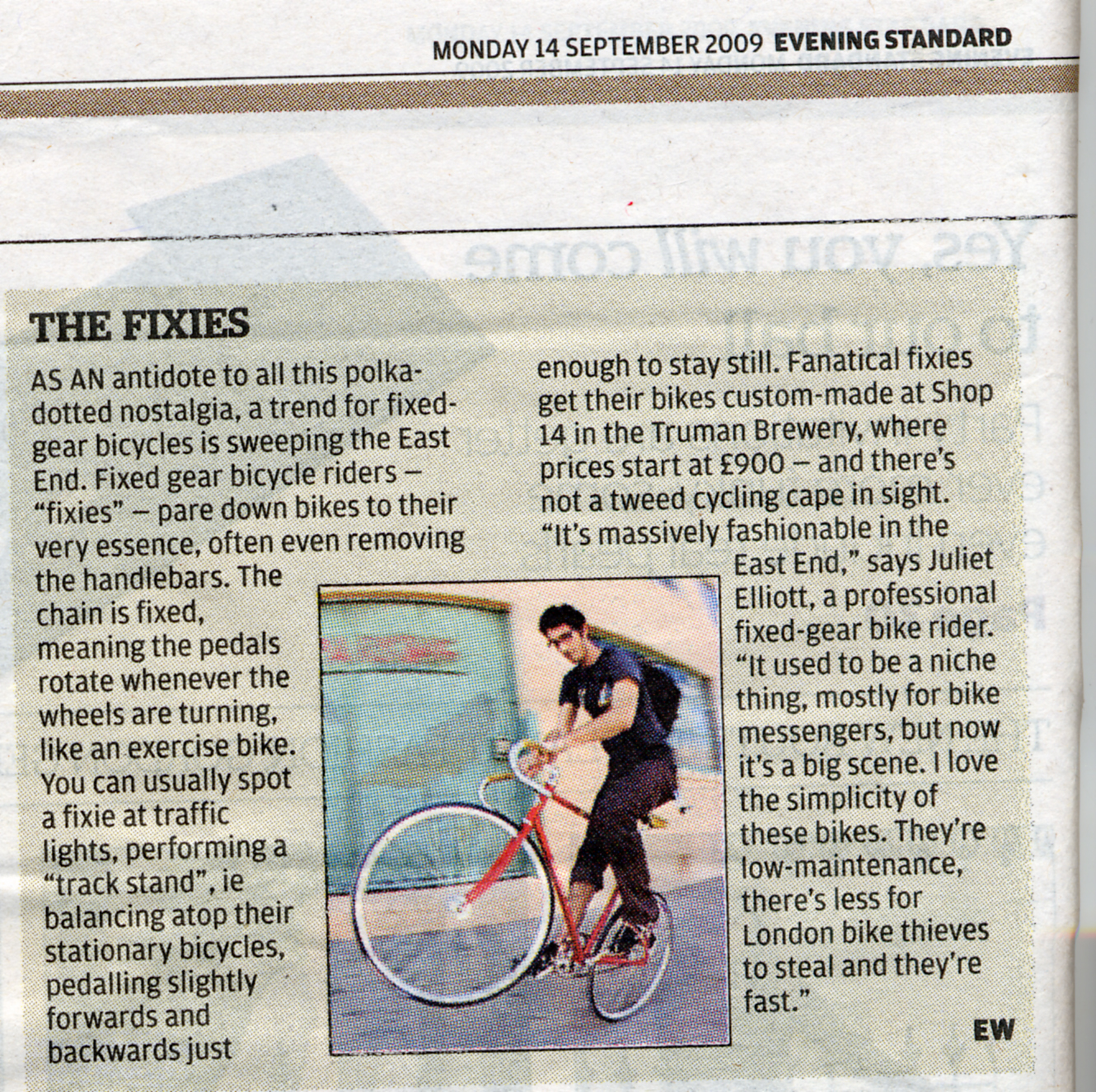 evening standard 14th sept 09