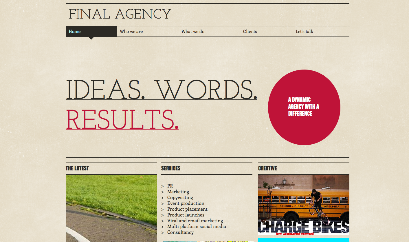 final agency website screenshot