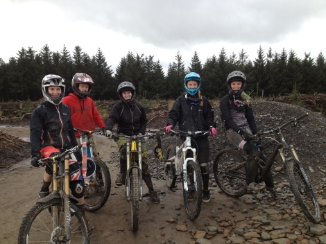 juliet elliott, manon carpenter, anna glowinski, suzanne lacey at Bike Park Wales